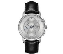 Baroncelli Armbanduhr 42mm Armband Leder Schwarz Gehäuse Edelstahl Automatik M8607.4.17.4