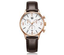Chronograph Quarz Uhr mit Leder Armband DF-9002-05