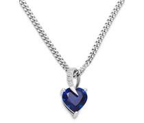 Kette - Halskette Kette Silberfarbig 925 Sterling Silber mit Herz Saphir 45 cm
