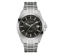 Precisionist 96B252 - Designer-Armbanduhr - Edelstahl mit schwarzem Zifferblatt
