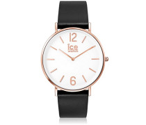 CITY tanner Black Rose-Gold - Schwarze Herrenuhr mit Lederarmband - 001515 (Medium)