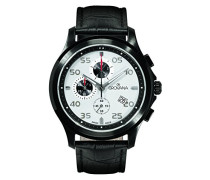 1633.9572 Quarz-Armbanduhr, silbernes Zifferblatt, Chronograph, schwarzes Lederband