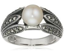 Ring 925 Silber vintage-oxidized Süßwasser-Zuchtperle weiß Markasit Süßwasser-Zuchtperle Weiß 56 (17.8) - L0112R/90/I6/56