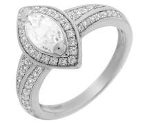 Ring 925 Silber rhodiniert Zirkonia weiß Marquiseschliff