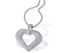 Herz-Halskette 925 Sterlingsilber Pavee Herz 201 weiße Zirkonia Herzanhänger