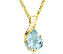 Kette - Halskette Gelbgold 9 Karat/375 Gold Kette Aquamarin 45 cm