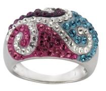 Crystelle Ring 925 Sterling Silber Swarovski-Kristall mehrfarbig