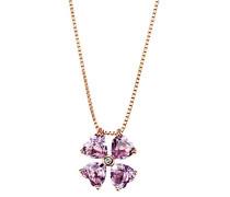 Damencollier lovely Flower 375 Rosègold 4 Amethyst pink facettiert herzförmig 1 Brillant Venezianerkette 45 cm