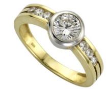 Damen-Ring 9 Karat (375) Bicolor Zirkonia weiß
