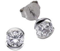Basic Ohrstecker 925 Sterling Silber rhodiniert Zirkonia weiß Brillantschliff 273220597