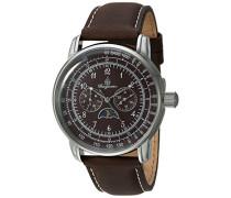 Armbanduhr für mit Analog-Anzeige, Quarz-Uhr und Lederarmband - Wasserdichte Herrenuhr mit zeitlosem