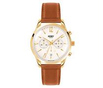 Erwachsene Chronograph Quarz Uhr mit Leder Armband HL39-CS-0014