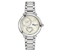 Salvatore Ferragamo Cuore Quarz Patentierte Uhr mit silberner Beschaffenheit Vorwahlknopf-Satz mit dem Schlagen des Herzens und des Edelstahl-Armbandes FE2060016