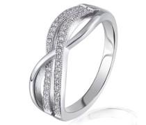 Damen-Ring 925 Sterling Silber 43 weiße Zirkonia