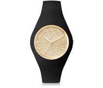 ICE glitter Black Gold - Schwarze Damenuhr mit Silikonarmband - 001355 (Medium)
