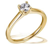 Ring Solitär 4er Stotzen 750 Gold 1 Brillant 0.50 ct. Lupenrein weiß inklusive externer Expertise, Verlobung