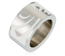 Ring 925 Sterling Silber Edelstahl rhodiniert Kunststoff Totem, SILBER/WEISS