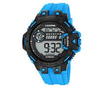 Digitale Armbanduhr mit LCD Digital Display Zifferblatt und türkisem Kunststoff-Armband k5696/2