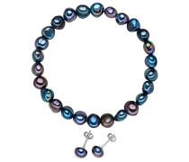 Schmuckset Armband + Ohrringe Ohrstecker 925 Silber rhodiniert hochwertige Süßwasser-Zuchtperle pfauenblau - Perlenarmband Perlenohrstecker mit echten Perlen dunkelblau 60201788