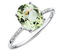 Ring Weißgold 9 Karat / 375 Gold Grüner Amethyst mit Diamant Brillianten