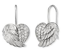 Herzflügel Ohrhänger für rhodiniertes 925er-Sterlingsilber mit 38 weißen Zirkonia Größe 11 mm