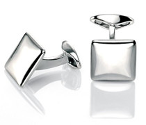 Manschettenknöpfe 925 Sterling Silber silber V460 Quadrat-Manschettenknöpfe mit abgerundeten Ecken