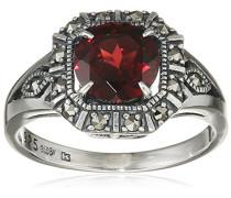 Ring 925 Silber vintage-oxidized Granat rot Markasit 50 (15.9) - L0028R/90/M2/50