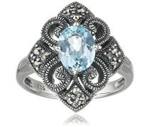 Ring 925 Silber vintage-oxidized Topas blau Markasit 52 (16.6) - L0021R/90/W4/52