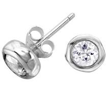 Ohrringe 925 Silber Topas Farblos - DNE255-S-WT