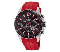 Chronograph Quarz Smart Watch Armbanduhr mit PU Armband F20376/6