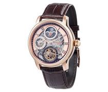 Longitude Shadow ES-8063-02 Armbanduhr mit Automatikgetriebe, Rotgold-Zifferblatt mit Skelett-Anzeige