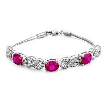 Armband 925 Sterling-Silber Ovalschliff Rot Synthetischer Rubin