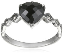 Ring 925 Silber vintage-oxidized Spinell schwarz Markasit 58 (18.5) - L0045R/90/Z2/58
