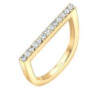 Ring Geo 925 Silber Swarovski Kristalle gold Brillantschliff