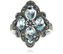 Ring 925 Silber vintage-oxidized Topas blau Markasit 60 (19.1) - L0007R/90/W4/60