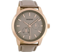 Erwachsene Chronograph Quarz Uhr mit Leder Armband C8577