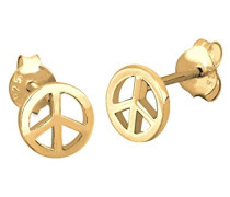 Ohrringe Peace Frieden Festival Boho Hippie Trendsymbol vergoldet silber 925