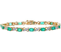 Armband 375 Gelbgold Smaragd grün Ovalschliff Diamant 1