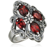 Ring 925 Silber vintage-oxidized Granat rot Markasit 50 (15.9) - L0007R/90/M2/50