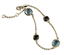Armband Gold Edition 375 Gelbgold Topas Kissenschliff blau Quarz 20 cm - 324360150-3