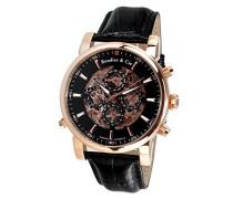Automatik Armbanduhr von für Männer mit einem echten Diamanten mit Schwarzem Zifferblatt Analoger Anzeige und Schwarzem Armband aus Leder SK14H058