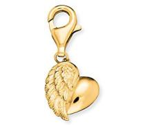 Herzflügel Charm für vergoldetes 925er-Sterlingsilber Größe 12 mm