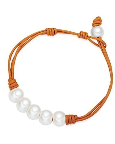 Armband Leder Perle Süßwasser-Zuchtperle Creme 19.5 cm - 60923023