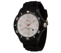 – fa-1023 – 46 – Armbanduhr – Quarz Analog – Weißes Ziffernblatt – Armband Silikon Schwarz
