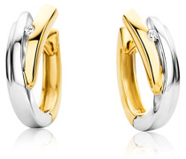 Ohrringe Creolen Bicolor Gelbgold/Weißgold 9 Karat/375 Gold Diamant Brillianten 0.04 ct