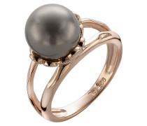 Ring 925 Silber teilvergoldet Muschel weiß Braun
