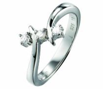 Ring 925 Sterling Silber rhodiniert Kristall Zirkonia Eclat D'argent weiß