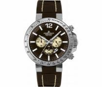 Armbanduhr XL Sport Chronograph Quarz Leder 1-1717E