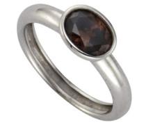 Ring 925 Sterling Silber Zirkonia braun oval