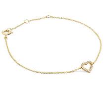 Armband - Armreif Kette Gelbgold 9 Karat / 375 Gold mit Herz Diamant Brillianten 0.06 ct 19 cm